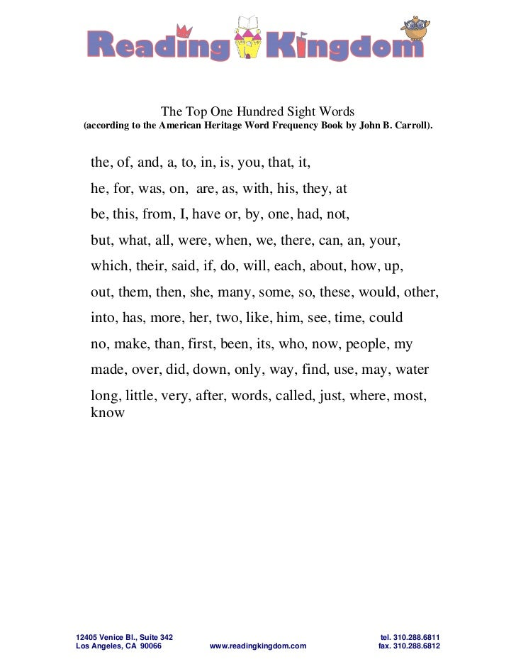 The Top One Hundred Sight Words  (according to the American Heritage Word Frequency Book by John B. Carroll).    the, of, ...