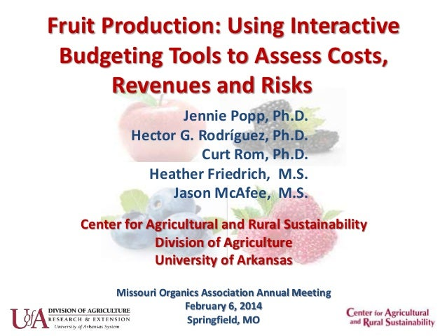 Fruit Production: Using Interactive Budgeting Tools to Assess Costs, Revenues and Risks Jennie Popp, Ph.D. Hector G. Rodrí...