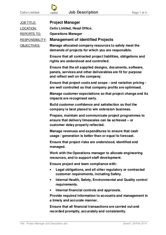 Cetix Limited Job Description Page 1 Of 4 File: Project Manager Job  Description.doc ...