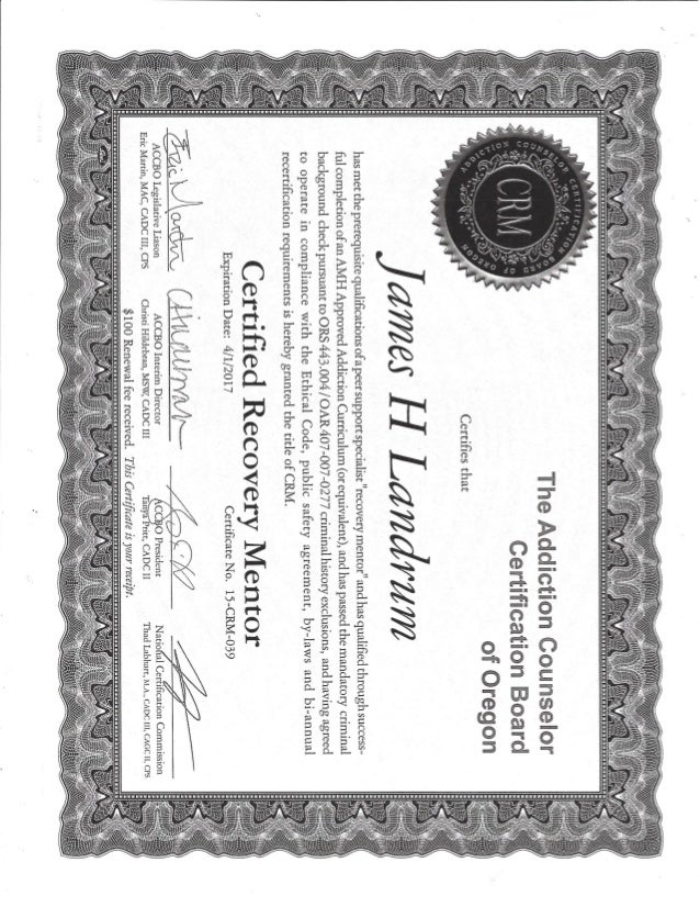 Recovery Mentor Certificate