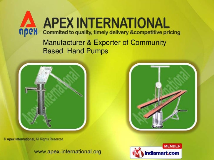 Manufacturer & Exporter of CommunityBased Hand Pumps