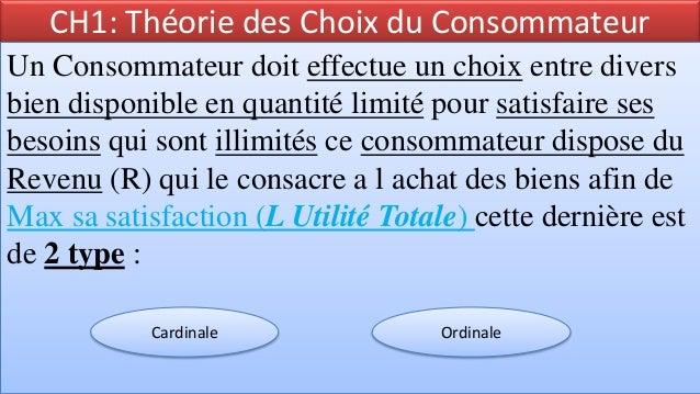CH1: Théorie des Choix du ConsommateurUn Consommateur doit effectue un choix entre diversbien disponible en quantité limit...