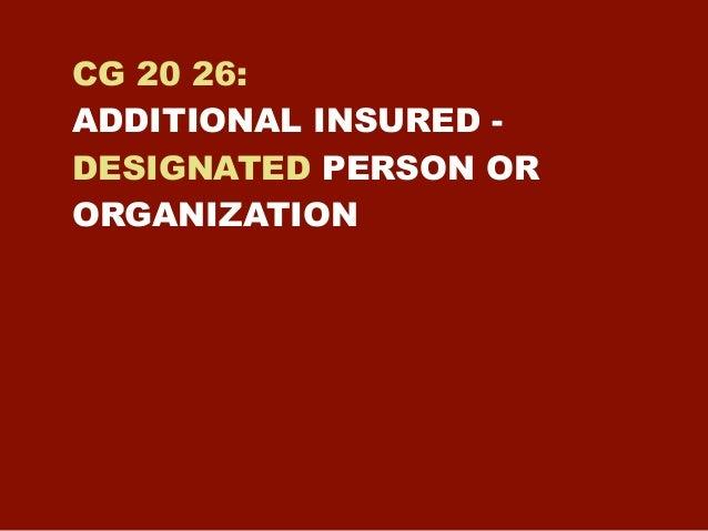 Additional Insured Designated Person Trinity