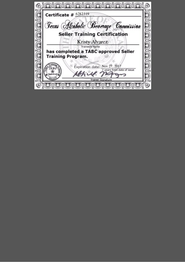 Tabc Certification Texas Gallery - certificate design template free