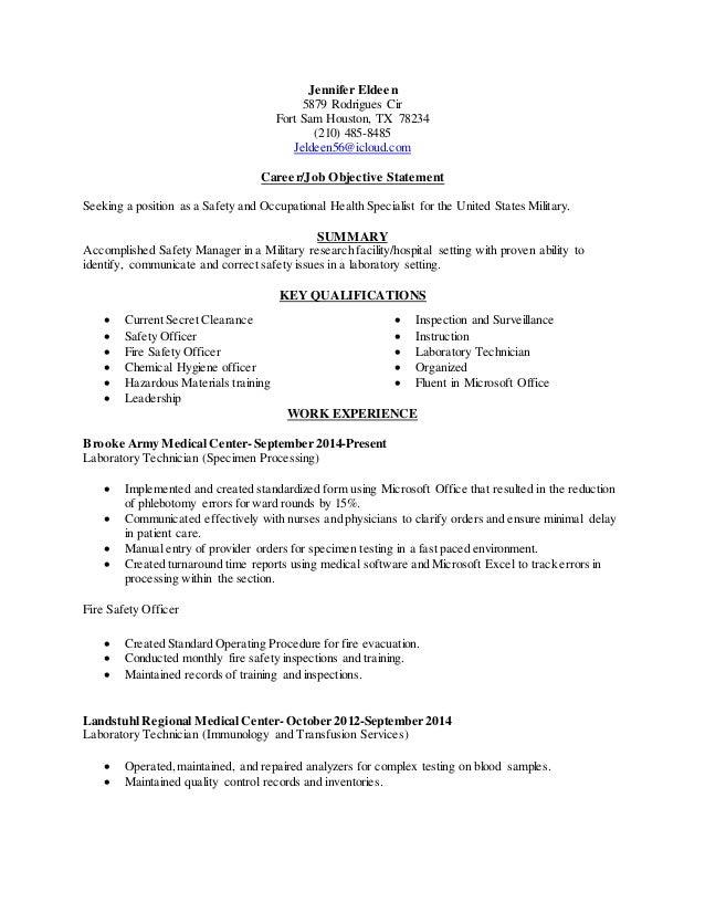 jennifer eldeen 5879 rodrigues cir fort sam houston tx 78234 210 485 chemical hygiene officer - Chemical Hygiene Officer Sample Resume