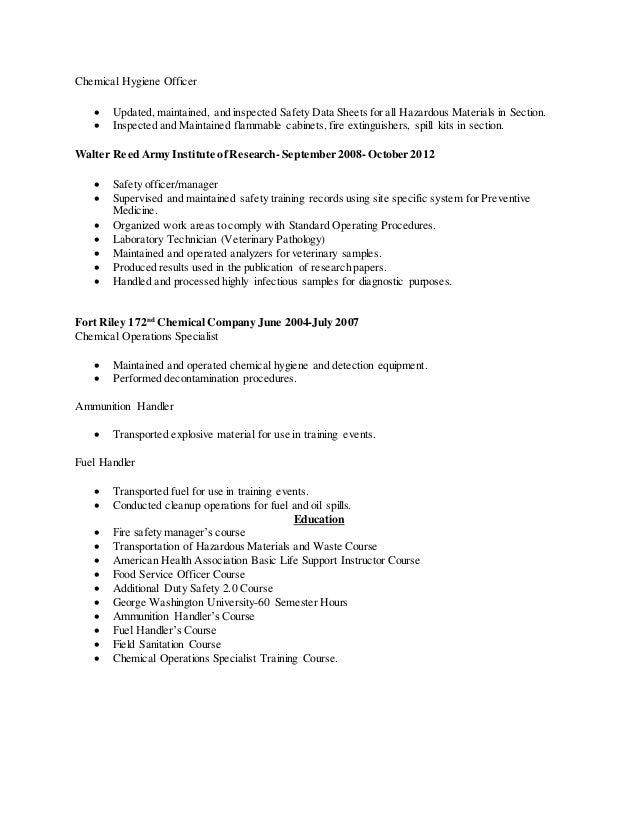 chemical hygiene officer - Chemical Hygiene Officer Sample Resume