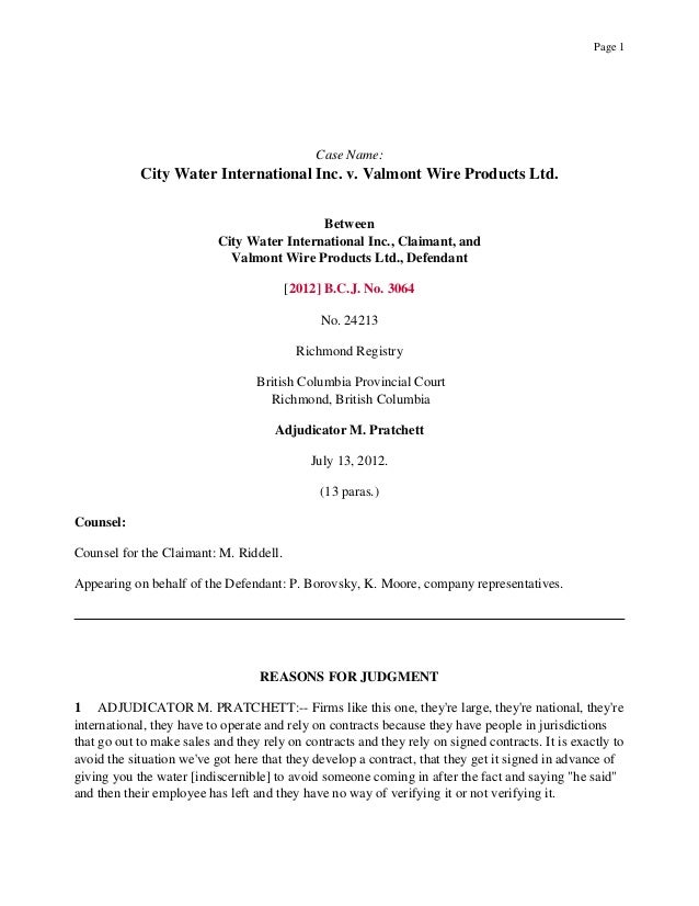 City Water International Inc. v. Valmont Wire Products Inc.