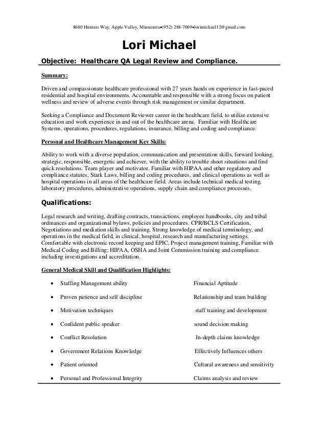 Healthcare QA Healthcare Review And Compliance Resume 12 21 2014