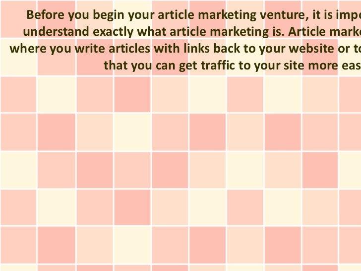 Article Marketing Success Tips For The Beginner Slide 3
