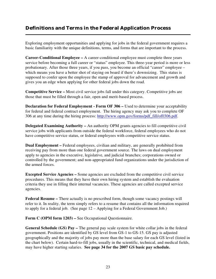 Definitions and Terms in the Federal Application Process  Exploring employment opportunities and applying for jobs in the ...