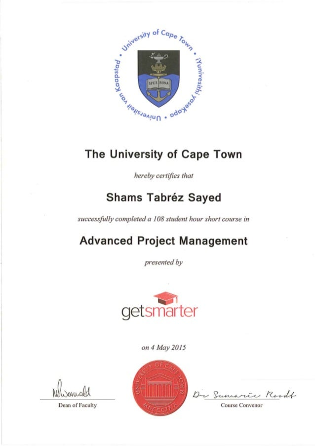 Syed Advance Project Management Certificate