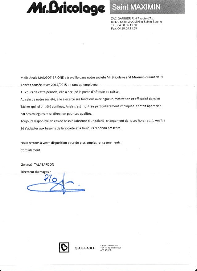 Lettre Recommandation Monsieur Bricolage Rotated