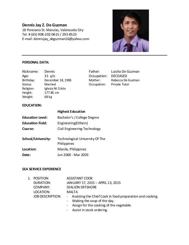 chief cook resume - Vatoz.atozdevelopment.co