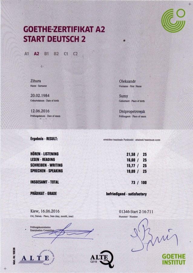 Goethe Zertifikat A2 Start Deutsch 2 Insgesamttotal 73100 Präd