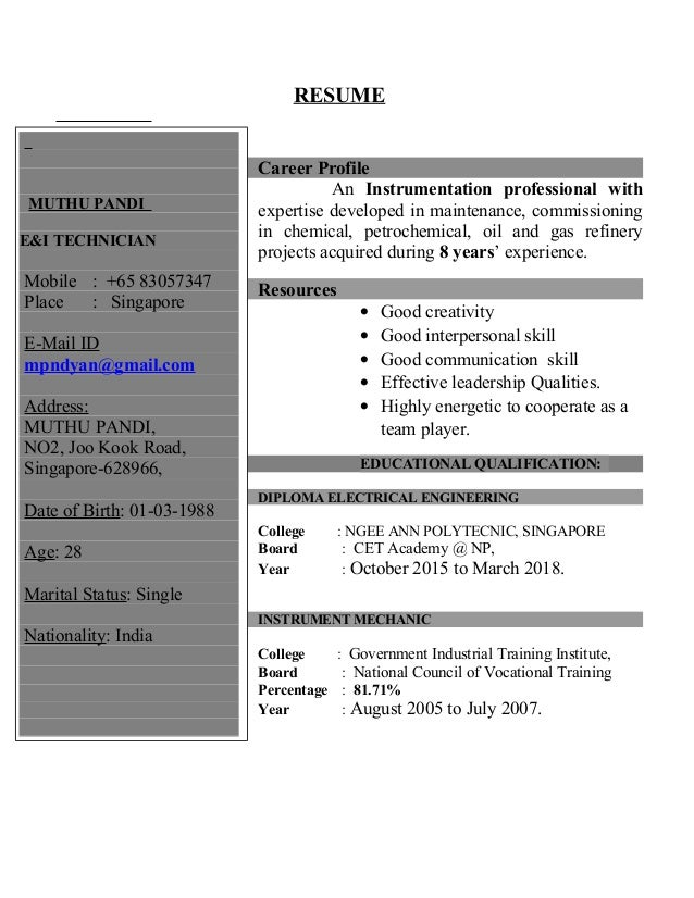 process technician resume