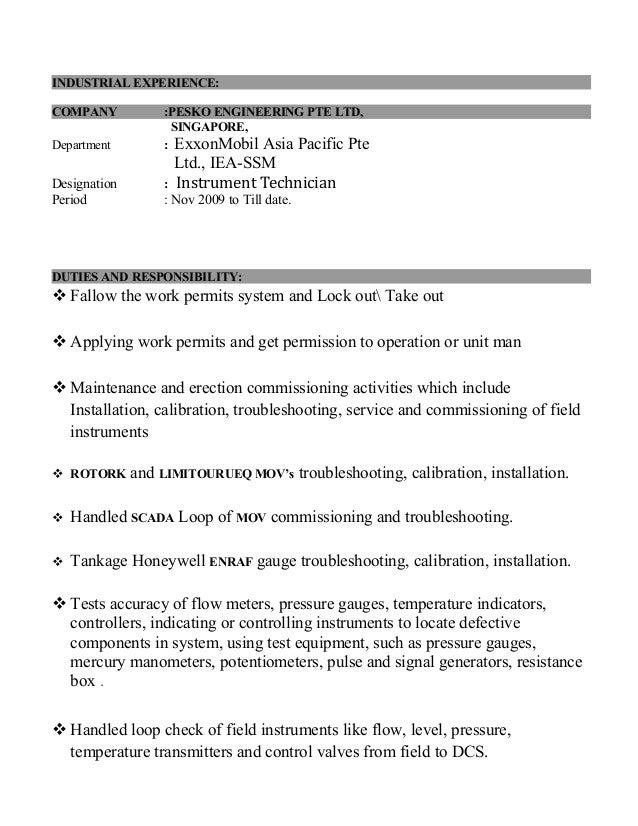 pandi resume instrument technician