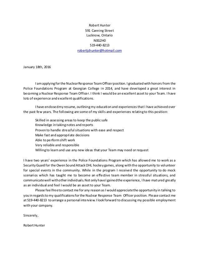 Robert Hunter resume and cover letter