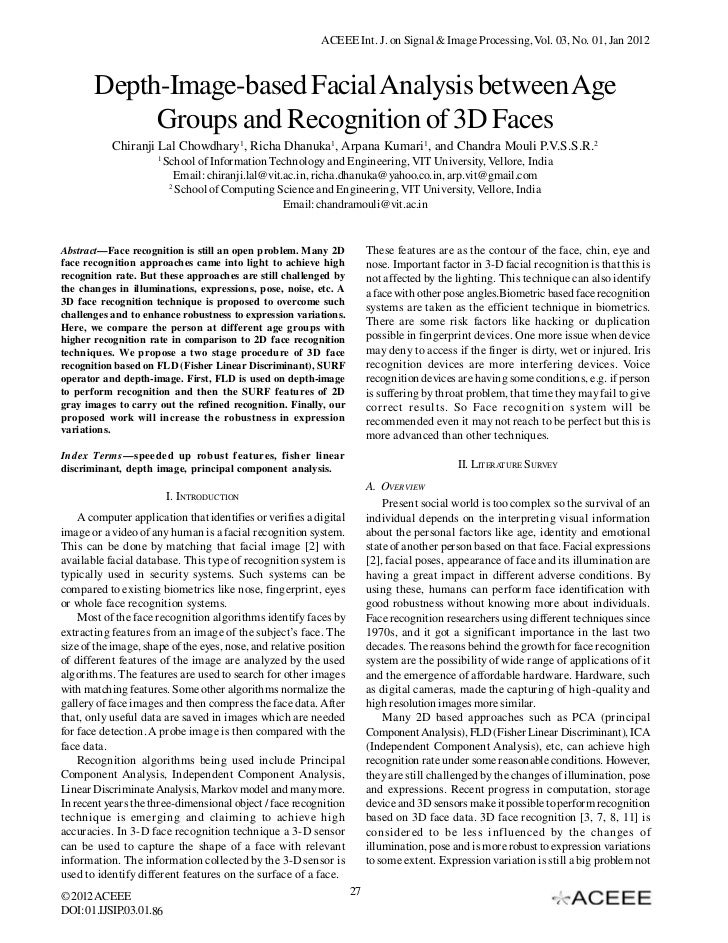 ACEEE Int. J. on Signal & Image Processing, Vol. 03, No. 01, Jan 2012       Depth-Image-based Facial Analysis between Age ...