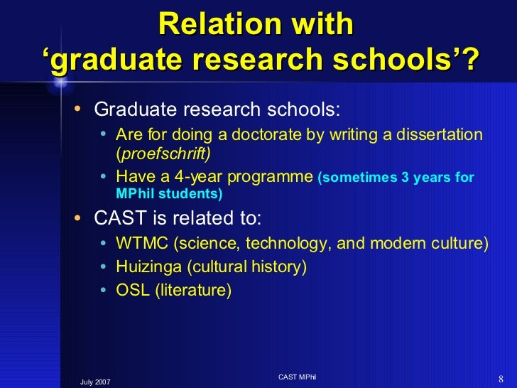 Relation with  'graduate research schools'? <ul><li>Graduate research schools:  </li></ul><ul><ul><li>Are for doing a doct...