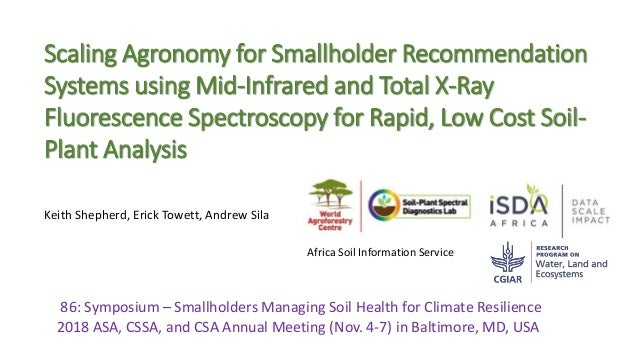 86: Symposium – Smallholders Managing Soil Health for Climate Resilience 2018 ASA, CSSA, and CSA Annual Meeting (Nov. 4-7)...