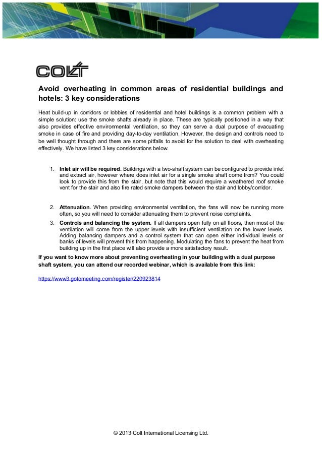 Avoid overheating in common areas of residential buildings and hotels: 3 key considerations Heat build-up in corridors or ...