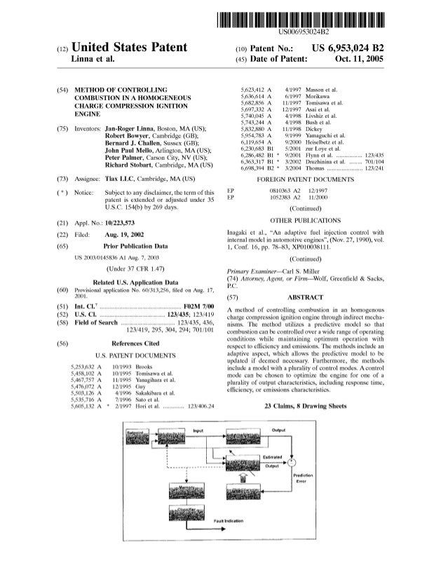 (12) United States Patent Linna et al. (54) (75) METHOD OF CONTROLLING COMBUSTION IN A HOMOGENEOUS CHARGE COMPRESSION IGNI...