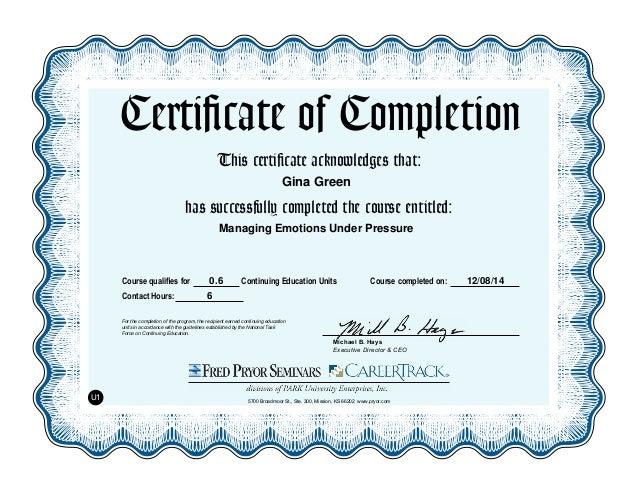 Managing Emotions Under Pressure Certificate Of Completion