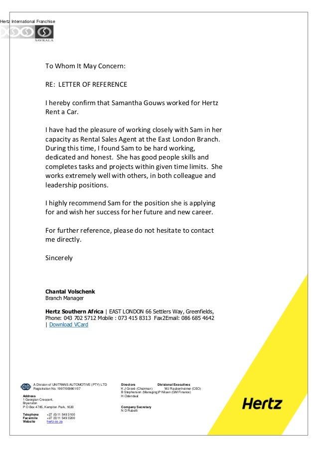 Reference Letter Hertz