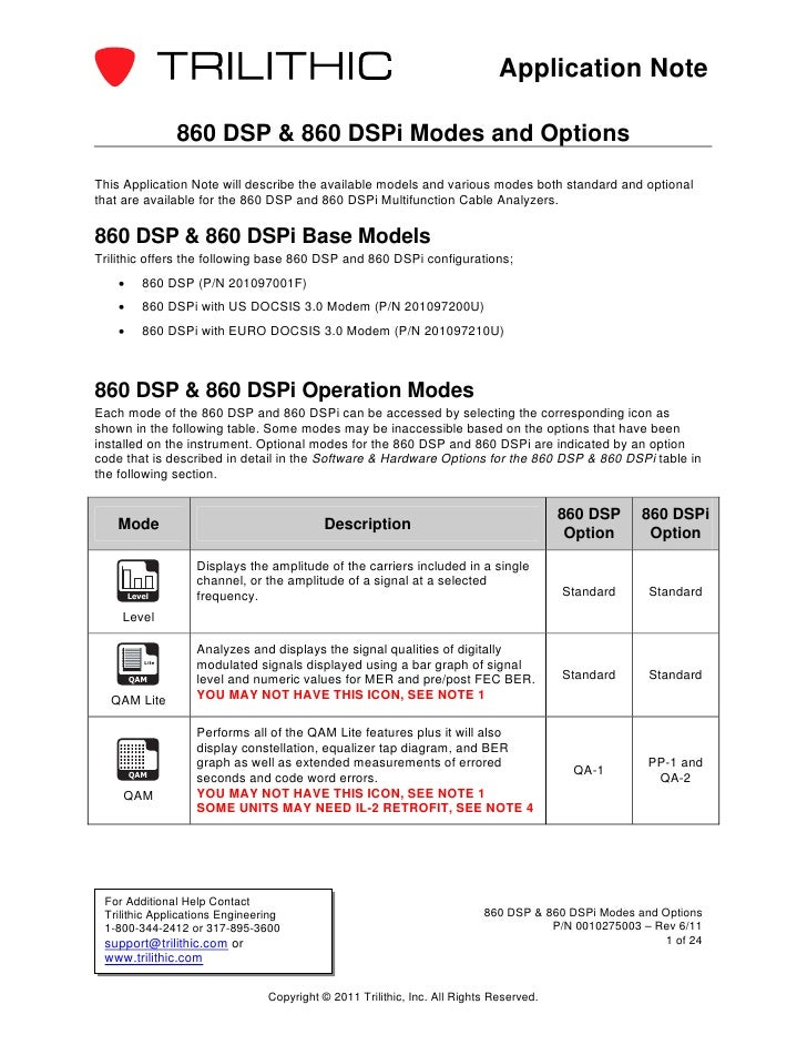 Application Note                   860 DSP & 860 DSPi Modes and OptionsThis Application Note will describe the available m...