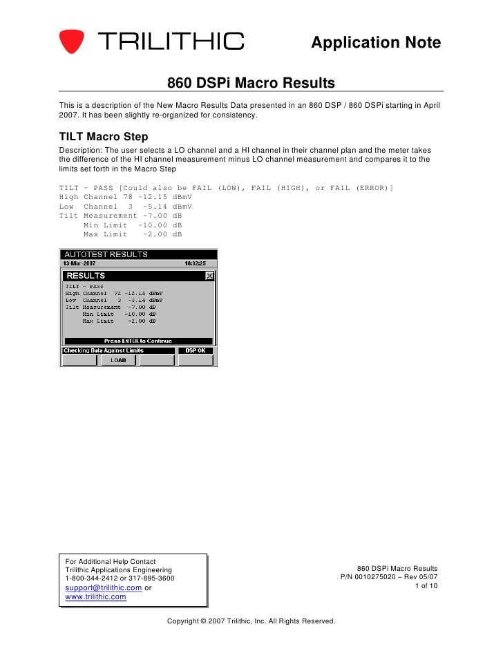 Application Note                                860 DSPi Macro ResultsThis is a description of the New Macro Results Data ...