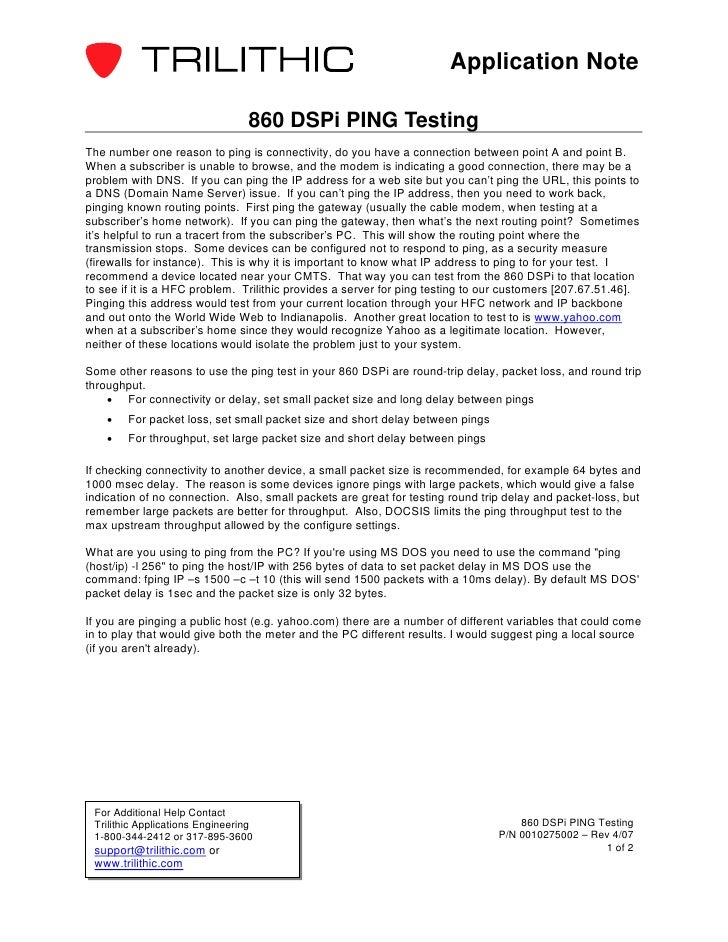 Application Note                                  860 DSPi PING TestingThe number one reason to ping is connectivity, do y...
