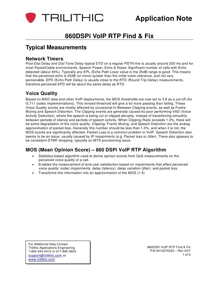 Application Note                           860DSPi VoIP RTP Find & FixTypical MeasurementsNetwork TimersPost-Dial Delay an...