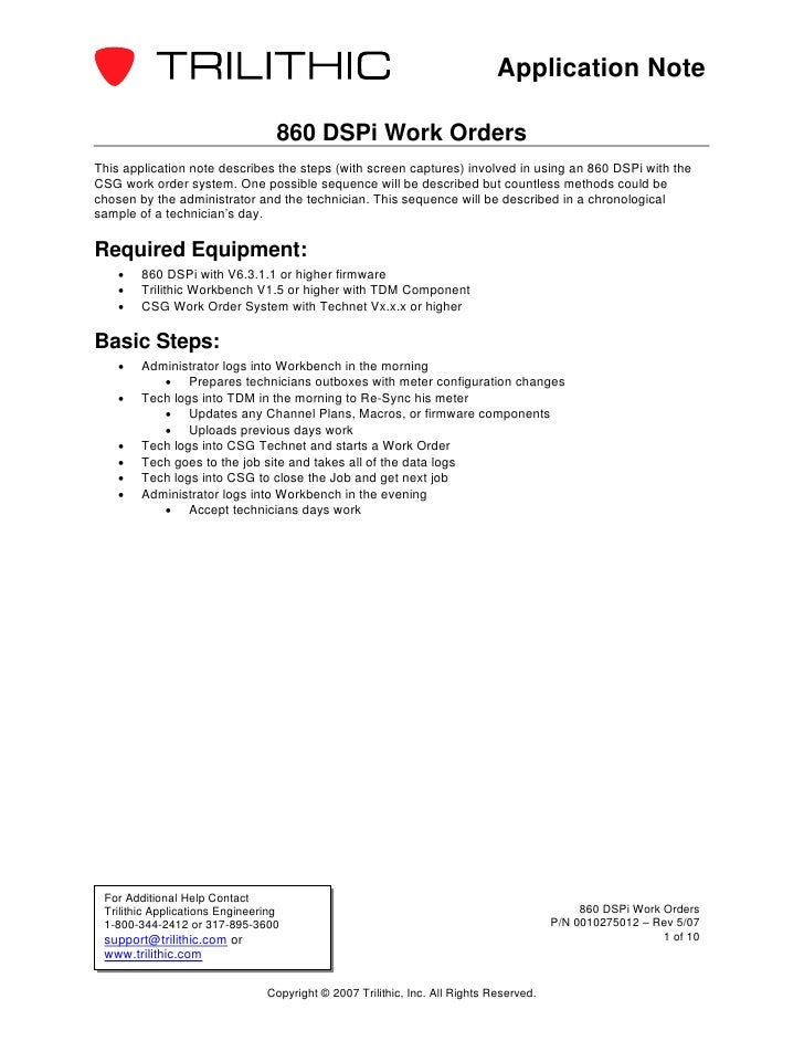 Application Note                                  860 DSPi Work OrdersThis application note describes the steps (with scre...