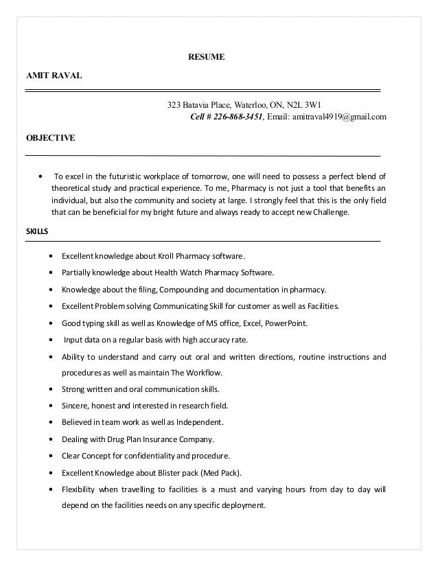 amit pharmacy assistant resume