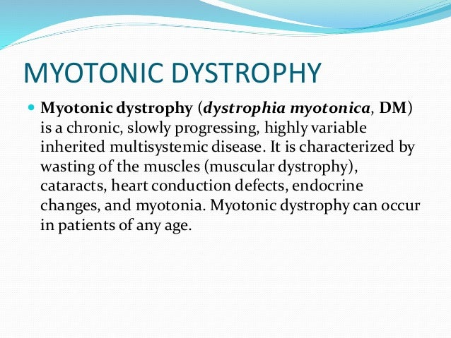 myotonic dystrophy research paper About us recommend on to develop treatment and care guidelines for myotonic dystrophy md starnet is the only research program designed to collect health.