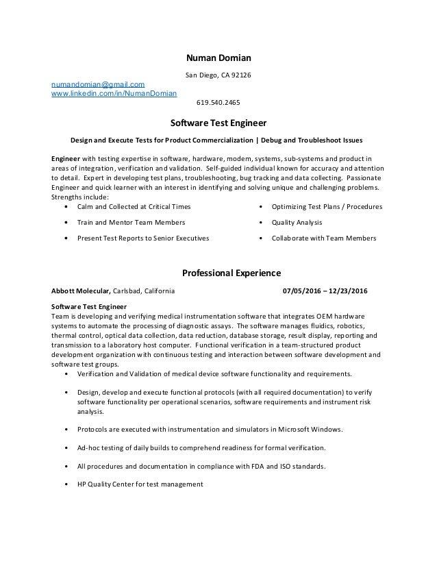 resume_numan_latest - Modem System Test Engineer Sample Resume
