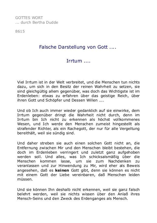 GOTTES WORT ... durch Bertha Dudde 8615 Falsche Darstellung von Gott .... Irrtum .... Viel Irrtum ist in der Welt verbreit...