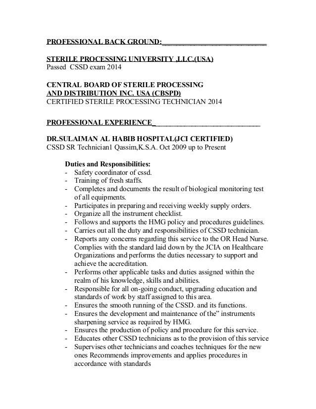 Sterilization Technician Cover Letter