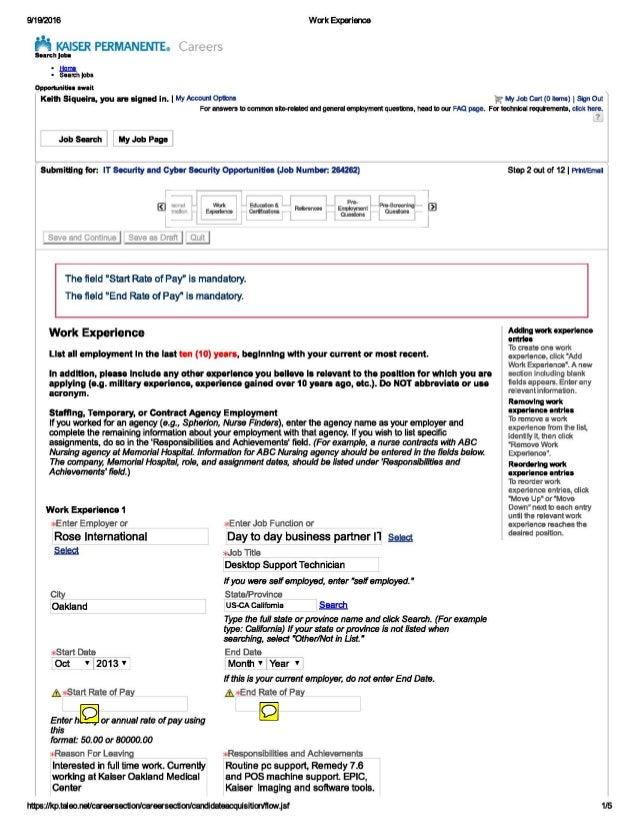 911912016 Work Experience ~ KAISER PERMANENTE. Careers S•an:hJat. • .l:ls!.!nl. • Sea~hjobs Oppartuniliu await Keith Sique...