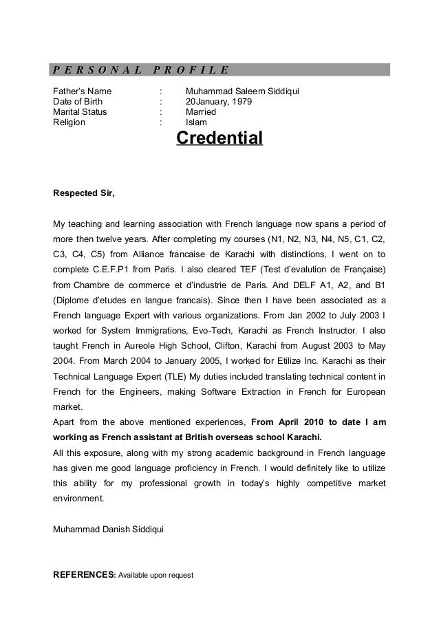 cv with credential