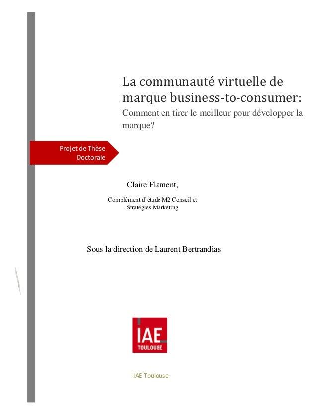 Projet de Thèse Doctorale La communauté virtuelle de marque business-to-consumer: Comment en tirer le meilleur pour dévelo...