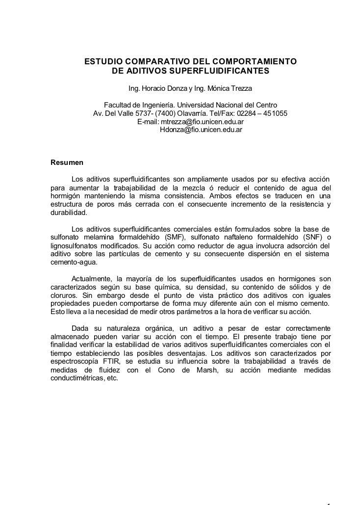 ESTUDIO COMPARATIVO DEL COMPORTAMIENTO                DE ADITIVOS SUPERFLUIDIFICANTES                         Ing. Horacio...