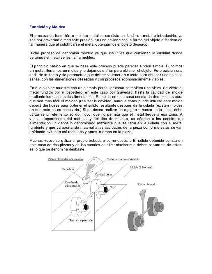 Fundición y MoldeoEl proceso de fundición o moldeo metálico consiste en fundir un metal e introducirlo, yasea por gravedad...