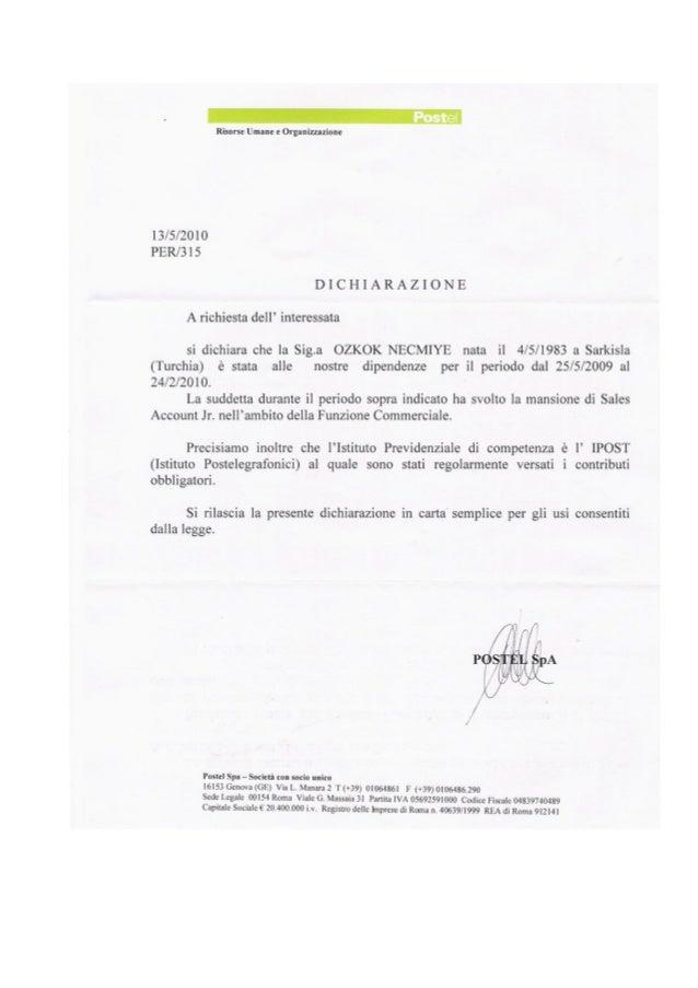 Certificato Aziendale Postel SPA