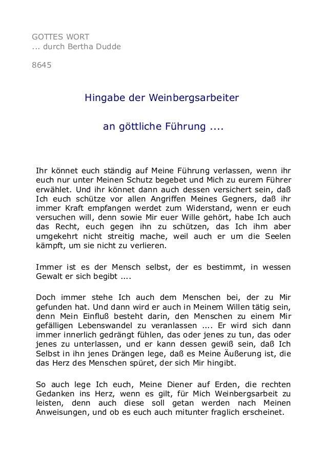 GOTTES WORT ... durch Bertha Dudde 8645 Hingabe der Weinbergsarbeiter an göttliche Führung .... Ihr könnet euch ständig au...