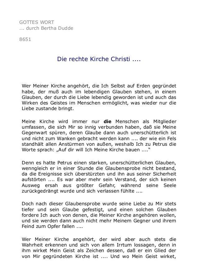GOTTES WORT ... durch Bertha Dudde 8651 Die rechte Kirche Christi .... Wer Meiner Kirche angehört, die Ich Selbst auf Erde...