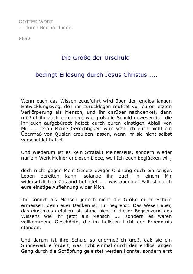 GOTTES WORT ... durch Bertha Dudde 8652 Die Größe der Urschuld bedingt Erlösung durch Jesus Christus .... Wenn euch das Wi...