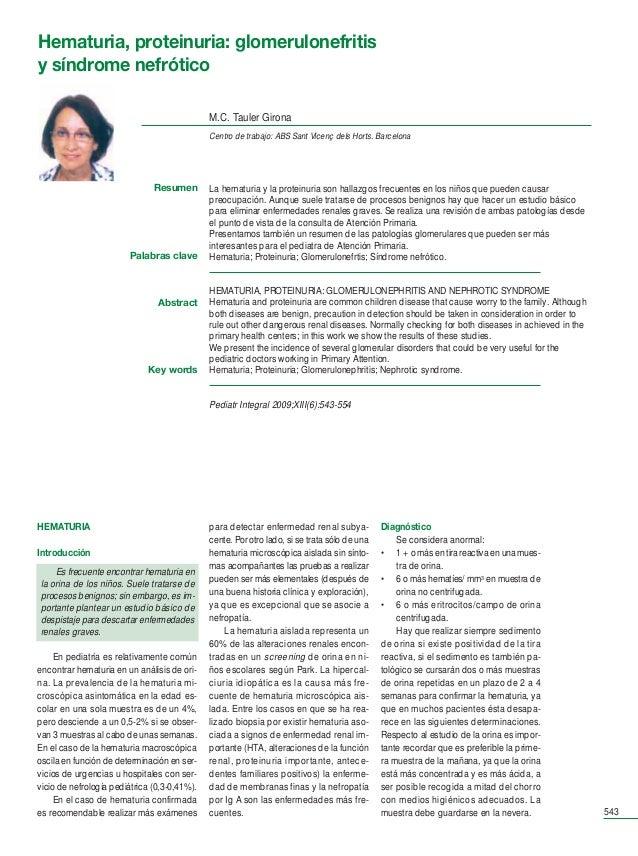 Ped Int 13-6 88 pag.       31/7/09      09:07     Página 543       Hematuria, proteinuria: glomerulonefritis       y síndr...
