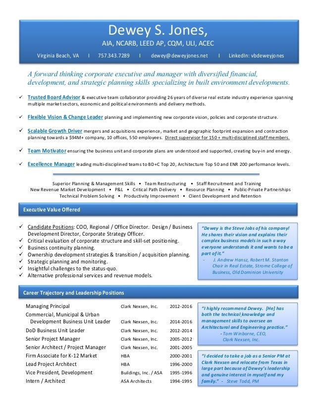 Dewey Jones Resume and Curriculum Vitae