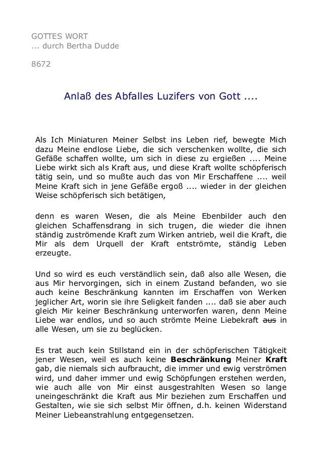 GOTTES WORT ... durch Bertha Dudde 8672 Anlaß des Abfalles Luzifers von Gott .... Als Ich Miniaturen Meiner Selbst ins Leb...